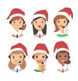 Portrait of happy smiling female customer support phone operator in Christmas hat. Callcenter worker with headset. Portrait of smiling female customer support Royalty Free Stock Photography