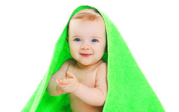 Portrait happy smiling little baby under towel on white Royalty Free Stock Photos