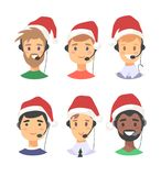 Portrait of happy smiling male customer support phone operator in Christmas hat. Callcenter worker with headset. Cartoon. Portrait of smiling male customer Stock Photography