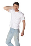 Portrait of happy smiling man, isolated on white Stock Photos