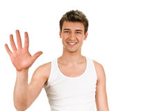 Portrait of happy smiling man showing five fingers Royalty Free Stock Images