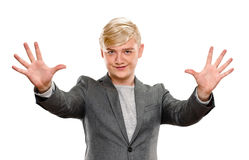 Portrait of happy smiling man showing ten fingers Stock Photo