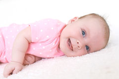 Portrait of happy smiling 2 months baby girl Stock Photo