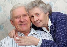 Portrait of happy smiling old couple. At home Stock Image
