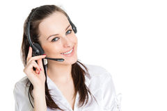 Portrait of phone operator with headset Royalty Free Stock Images