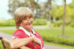 Portrait of happy smiling senior woman Stock Photography