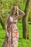 Portrait of Happy Smiling Sensual Blond Woman in Spring Forest Stock Image