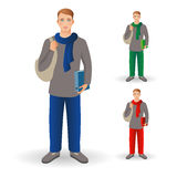 Portrait of happy smiling student or young man standing with fol Stock Images