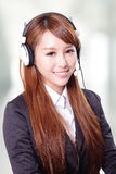 Portrait of happy smiling support phone operator in headset Royalty Free Stock Photo