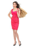 Portrait of happy smiling woman hold shopping bag. stock photo