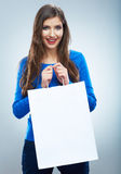 Portrait of happy smiling woman hold shopping bag. Female mode Stock Photos