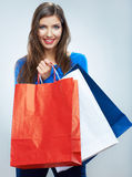 Portrait of happy smiling woman hold shopping bag. Female mode. L isolated studio background Royalty Free Stock Photo