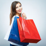 Portrait of happy smiling woman hold shopping bag. Royalty Free Stock Images