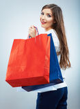 Portrait of happy smiling woman hold shopping bag. Female mode. L  studio background Royalty Free Stock Photo