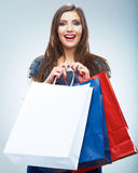 Portrait of happy smiling woman hold shopping bag. Stock Photos