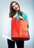 Portrait of happy smiling woman hold shopping bag. Female mode Royalty Free Stock Photos