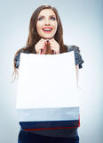 Portrait of happy smiling woman hold shopping bag. Royalty Free Stock Photos