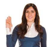 Portrait of happy smiling woman showing four fingers Stock Image
