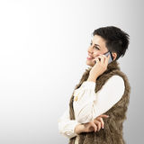 Portrait of happy smiling woman talking on the smartphone Royalty Free Stock Photography