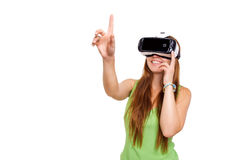Portrait of happy smiling young beautiful girl getting experience using VR-headset glasses of virtual reality isolated. Portrait of happy smiling young beautiful stock image