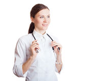 Portrait of happy smiling young female doctor Royalty Free Stock Photo