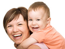 Portrait of happy son with mother Royalty Free Stock Image