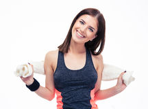 Portrait of a happy sporty woman with towel Royalty Free Stock Photo