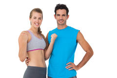 Portrait of a happy sporty young couple Stock Images