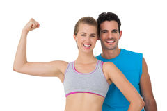 Portrait of a happy sporty young couple Royalty Free Stock Images