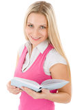 Portrait of happy student with book Stock Photos