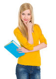 Portrait of happy student girl with book Royalty Free Stock Images