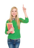 Portrait of happy student girl having idia Stock Photos