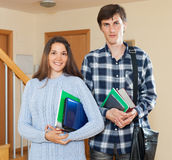 Portrait of happy students couple Stock Image