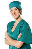 Portrait of happy successful female doctor Stock Photos