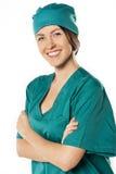 Portrait of happy successful female doctor Stock Photos
