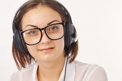 Portrait of happy support phone operator in headset. Portrait of happy cheerful support phone operator in headset Stock Image