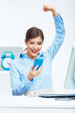 Portrait of happy surprised business woman on phon Stock Image