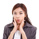Portrait of happy, surprised, exited, positive business woman royalty free stock images