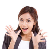 Portrait of happy, surprised, exited, positive business woman Royalty Free Stock Photos