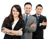 Portrait of happy team office workers. Woman and men office workers smiling isolated on white background Stock Images