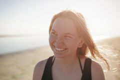 Portrait of happy teen girl on beach. Summe photo Royalty Free Stock Photos