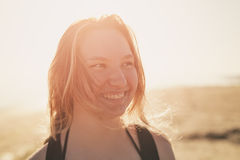 Portrait of happy teen girl on beach. Summe photo Royalty Free Stock Image