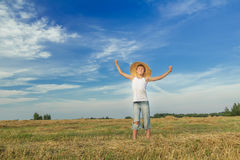 Portrait of happy teenage farmer on field Royalty Free Stock Photos
