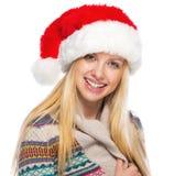 Portrait of happy teenage girl in santa hat Stock Photo