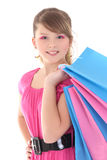 Portrait of happy teenage girl with shopping bags Royalty Free Stock Photo