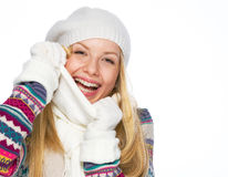 Portrait of happy teenager girl in winter clothes Royalty Free Stock Photos