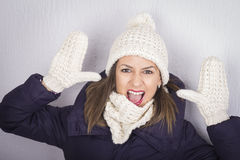 Portrait of happy teenager girl in winter clothes Royalty Free Stock Photography