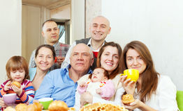 Portrait of happy three generations family Stock Image
