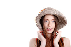 Portrait of happy tourist woman in hat on holiday on white backgraund. Happiness. Happy summer woman isolated in studio. Energetic fres Royalty Free Stock Photography