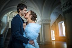 Portrait of happy wedding couple in classic Royalty Free Stock Photography